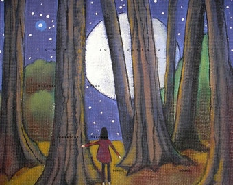 In The Light a small Woods Moon Night Print by Deborah Gregg