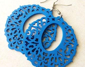 Large Royal Blue Filigree Wooden Earrings,