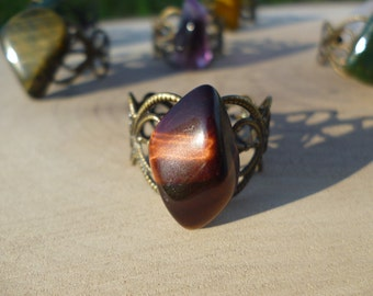 Red Tigers Eye on Filigree Adjustable Brass/Bronze Antique Gold Ring