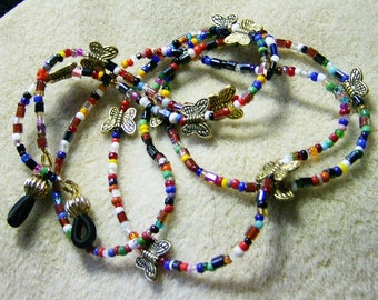 Handmade Eyeglass Chain/Lanyard - Multicolored Seed Beads with Gold Butterflies By JewelryArtistry - L198