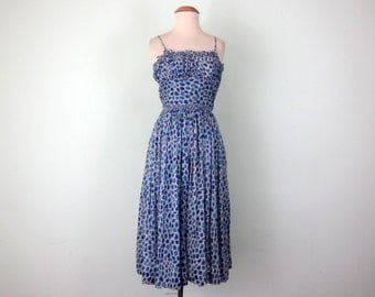 50s blue & white abstract print cotton sundress dress (xs - s)
