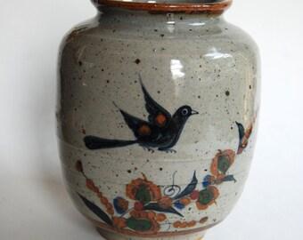 Vintage Pottery Vase, Signed, W, Folk Art Bird, Mexican