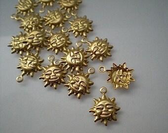 18 tiny brass sun charms