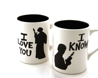Star Wars (R) Han Solo and Leia I love you I know  Mug Set for Wedding or Anniversary, can be personalized
