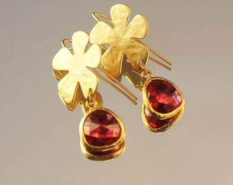 The Dating Game Daisy Gold Hoop Earwire and Fushia Glass Stone Earrings
