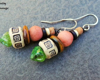 Tribal Primitve Colorful Rustic Glass and Ceramic Dangle Earrings, Sterling Silver Wood Patterned Organic Boho Style Earrings
