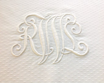 Table Topper Notched Edges Triple Monogram Vintage