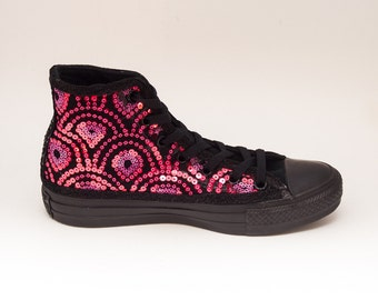 Sequin Hot Pink Feather Pattern on Black Sequin Converse Canvas Hi Top Sneakers Shoes