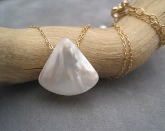 Mother of Pearl  Necklace - 14K Gold Fill  Slide Necklace - Gold & White - Shell Jewelry - Summer - White Necklace - Mother of Pearl Pendant