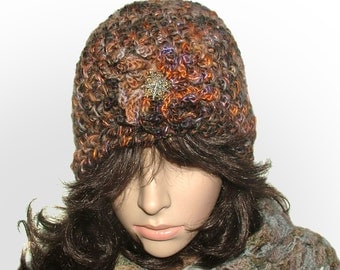 Chunky Crochet Hat Beanie in multi-color rustic tones