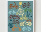 Bicycles Print Art, Digital Print, Blue Wall Decor, Digital Illustration, Modern Art Bike Poster, Vintage Bike Antique Bicycles