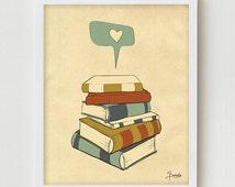 "Reading Print Art ""I READ"" Digital Illustration, Books Love Poster, Books Illustration Drawing Art, Library Print, Reading Books Print"
