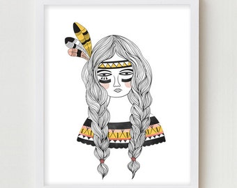 Bohemian Art Print Digital Print Bohemian Illustration Girl Wall Decor Chic Dorm Bedroom Print Art Native American Pigtails Braids Poster