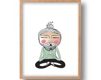 Meditation Guru Giclee Art Print Yoga Meditating Master Mentor Sage Guru Illustration Poster Wall Decor Art Zen Master Lotus Yoga Pose Art