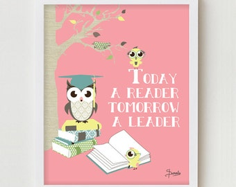 Classroom Decor, Wall Decor Poster, Owls Reading Books Classroom Decor, Children's Decor, Kid's Print Pink Owls Print Art