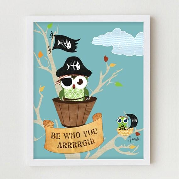 Owl Poster, Childrens Wall Art, Pirate Owls Boy's Bedroom Decor, Kids Art Print, Owl Pirate Bedroom Art Print, Children's Art Poster