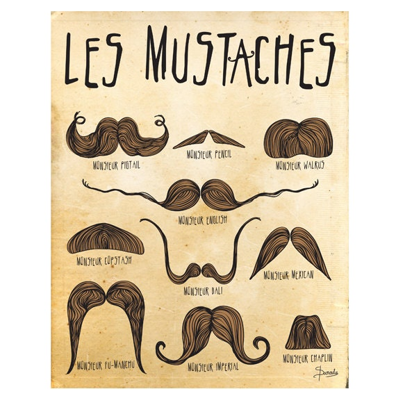 Marvelous Mustache Art Print Mustaches Poster Les By Paradacreations On Etsy Short Hairstyles Gunalazisus