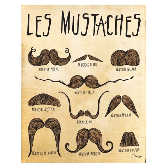 Pleasant Mustache Art Print Mustaches Poster Les By Paradacreations On Etsy Short Hairstyles Gunalazisus