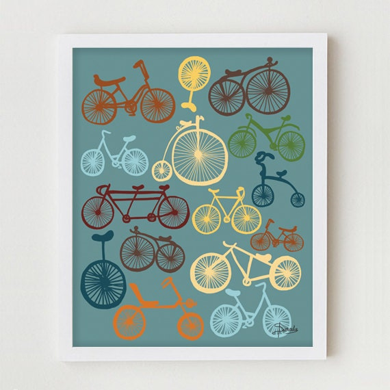 Bicycles Print Art, Digital Print, Blue Wall Decor, Digital Illustration, Modern Art Bike Poster, Vintage Bike Antique Bicycles