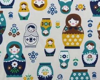 2632A -- Retro Kawaii Matryoshka Doll Fabric in Yellow/Green Combo, Russian Doll Fabric, Babushka Fabric, Doll Fabric