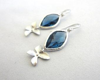 Sapphire Blue Glass Flower Earrings