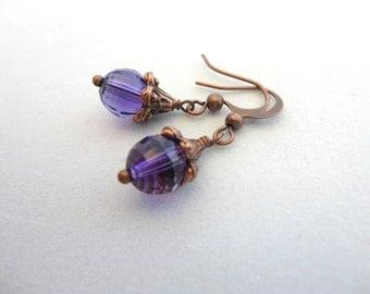 Antiqued Copper Amethyst Earrings