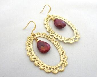 Ruby Lace Earrings