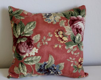 Dusty Rose Floral Pillow Cover - Vintage Fabric