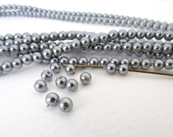 Vintage Pearl Beads Shiny Steel Grey Acrylic Round Japan 4mm vgp0046 (100)
