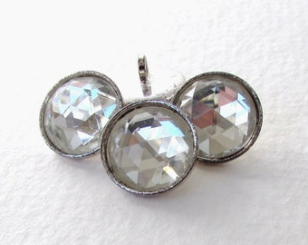 Vintage Glass Buttons Clear Faceted Silver Metal Shank Czech 13mm but0294 (4)