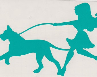 Great Dane and Pin Up Silhouette, Aqua Vinyl Decal