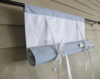Blue Chambray 48 Inch Long Swedish Roll Up Shade Stage Coach Blind Tie Up Curtain Swag Balloon