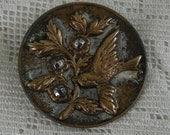 Vintage Cut Steel Bird Button - Large 33mm Button