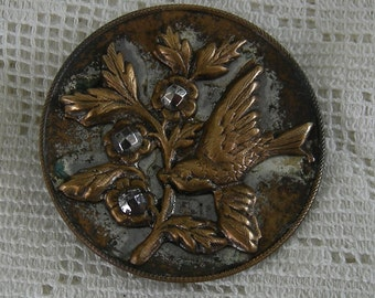 Large Vintage Cut Steel Bird Button - Large 33mm Button - REDuCED