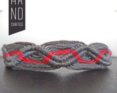 Grey and Bright Red Wave Woven Bracelet