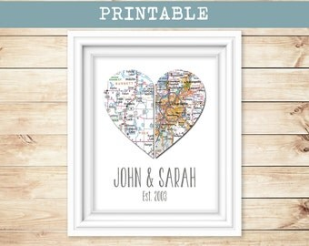 PRINTABLE - Custom Personalized Heart Map, Map Print - Wedding or Anniversary Gift  - Any Two Locations in the U.S.