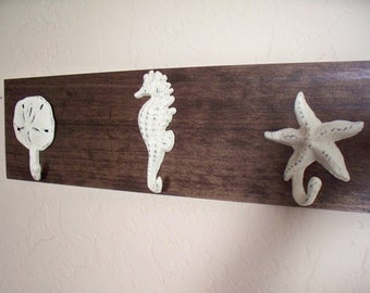 Wall hooks on wood,  nautical wall hooks on wood, beach themed coat rack, bathroom towel hooks, housewarming gift, rustic wood boards