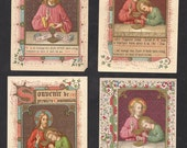 Antique Lot 4 Holy Card Souvenir First Communion Beautiful Old Prayer Cards.