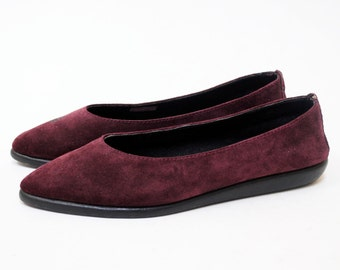 Aerosoles Pointed Jelly Sole Flats in WIne Suede