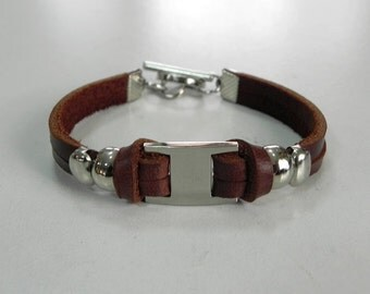 Brown Leather Bracelet Leather Cuff Two Strand Leather