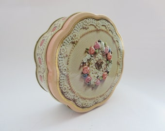 Vintage Pink Floral Metal Tin - Avon Valentine's Day Collectible Tin with Lace and Pearls Design - Pink Metal Container