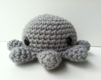 Amigurumi Crochet Gray Octopus Plush Toy Kawaii Plush Octopus Gift Under 25 Octopus Plushie Stuffed Animal Octopus Mini Plush Octopus
