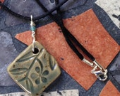 Smoky Blue Square Stoneware Pendant with Flower Pattern