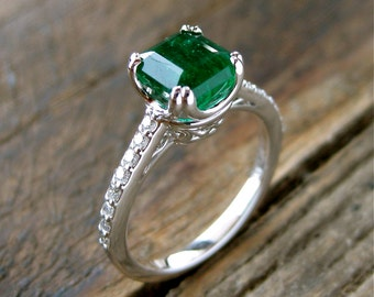 Emerald Engagement Ring in 14K White Gold with Diamonds Scrolls and Double Claw Prongs Size 6
