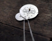 Dragonfly silver coin pendants with dots of gold necklace