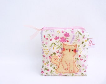 Cute Coin Purse Cat Fabric Pouch Coin Wallet Cat Purse Handmade Purse Stocking Stuffers - Christmas Gift