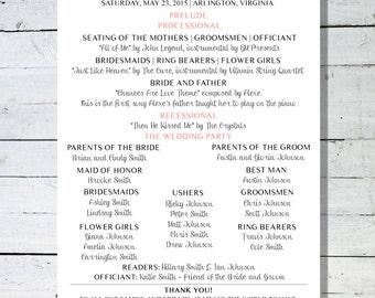 Custom Wedding Ceremony Program - Digital File