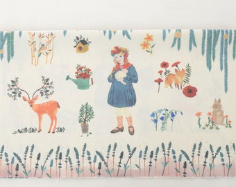 Home Decor Retro Floral Wreath Country Girl Forest Animals Deer Bunny Rabbit Fox Bird Trees-Cotton Fabric (1 Panel, 16x25.9 inches)