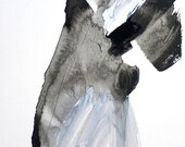 """Black and White Abstract Watercolor, 8 x 10"""" """"Painting 36 - Gesture"""", original fine art, expressive minimal watercolor, gallery wall art"""