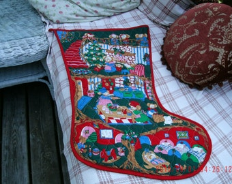 Vintage Sweet Large Christmas Quilted Stocking Cottage Charm Farmhouse Style